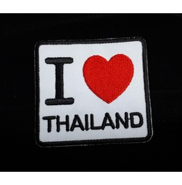 I Love Thailand Embroidered Iron On Patch.