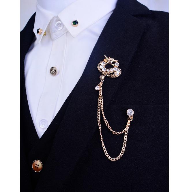 \u0027s Sweater Dragon Collar Pins,Suit Collar Badge Brooches Chain,Gift Idea