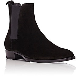 Handmade Men Leather Boots, Suede Chelsea Boot For Men,Men Black Color Boot