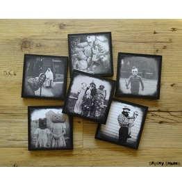 Creepy Vintage Halloween Costumes Coasters Set Of 6 Wooden Coasters