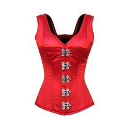 Red Satin Shoulder Straps Seal Lock Opening Burlesque Overbust Corset Top