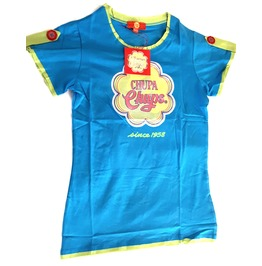 Ace Chupa Chups Lollipop Orginal Blue Lime Green Yellow + Red T Shirt Small