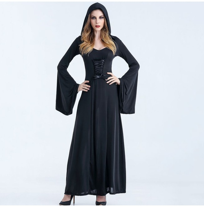 Medieval Style Lace Up Maxi Dress With Extra Long Bell Sleeves Womens