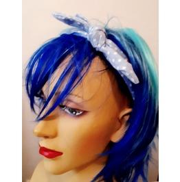 Unique Pretty Mid Light Blue Head Hair Band Scarf With Bow
