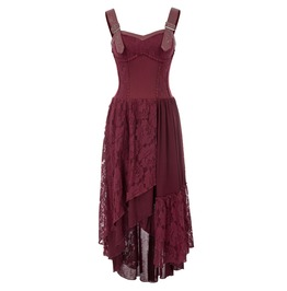 Leather Buckle Strap Shoulder Sleeveless Lace Bohemian Dress