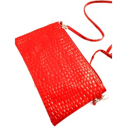 Cool! Snake Embossed Skin Pattern Scarlet Red Small Purse Clutch Bag Zipped