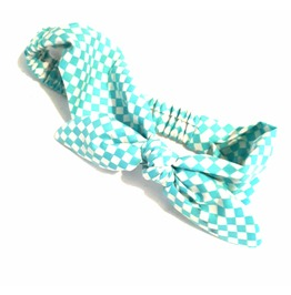 Unique Pretty Harlequin Turquoise Blue White Head Hair Band Scarf With Bow