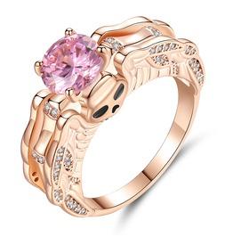 Women Cubic Zirconia Rings,Gothic Skull Rose Gold Simulated Diamond Ring