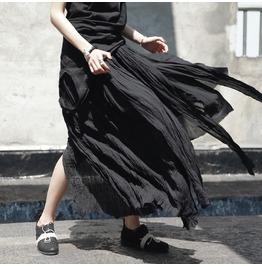 Gothic Black Punk Womens Tassels Long Frazzle Irregular Pleated Full Skirts