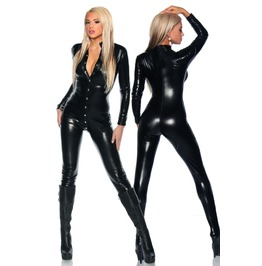 Black Wet Leather Look Stretch Pvc Catsuit O/S Fetish