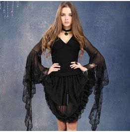Black Gothic Tee Transparent Lace Sleeves Tw099