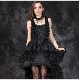 94fae5eaab Dw069 Elegant Gothic Jacquard Fishtail Dress With Three Dimensional Flowers