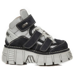 New Rock Shoes Grey And Black Thermal Skin Alaska Metallic Booty