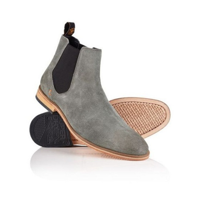 Handmade Men Suede Chelsea Boots, Gray Color Ankle Boots, All Sizes