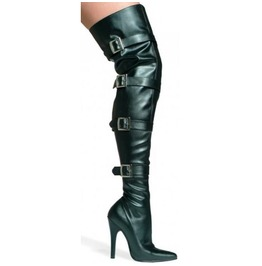 Buckle Up Black Thigh High Buckled Boots Size 7