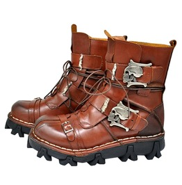 Punk Rock Skull Mid Cut Leather Boots