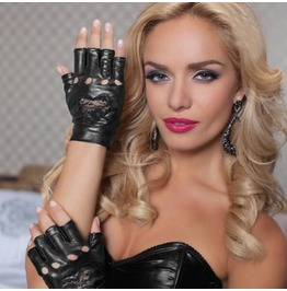Red Black Fingerless Heart Lace Imitation Leather Gloves Accessories