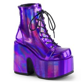 Camel Purple Holo Ankle Boots