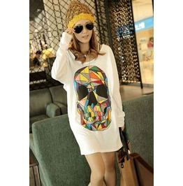 Stylish Hand Printed Large Colorful Skull T Shirt