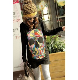 Stylish Hand Printed Large Colorful Skull T Shirt