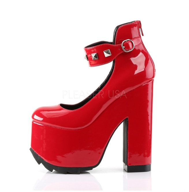 "Gothic Punk 6 1//4/"" Block Heel Platform Red Shoes w//Pyramid Studs /& Buckle"