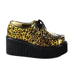 Demonia 3 p f goth punk rockabilly gold cheetah gltr pat creeper creepers