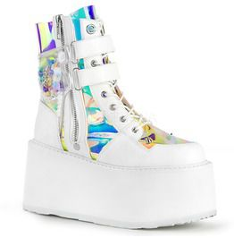 Damned White Holo Ankle Boots