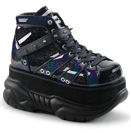 Neptune Black Glitter Ankle Boots