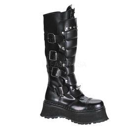 Skull Reaper Knee High Goth Boots