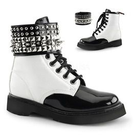 White Vegan Leather Combat Lace Up Festival Ankle Boots