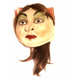 Cool New Vintage Cartoon Carticurture Lady Latex Rubber Mask With Hair