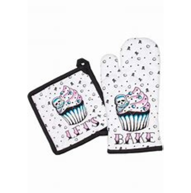 Let S Bake Kitchen Set Sourpuss Skull Heart Cupcake Rebelsmarket