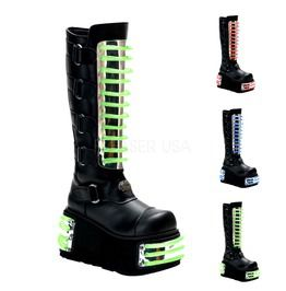 Cyber Techno Knee High Goth Boots