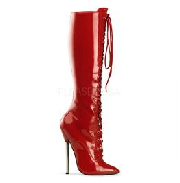 """6 1/4"""" Solid Brass Heel Lace Up Knee Boot"""