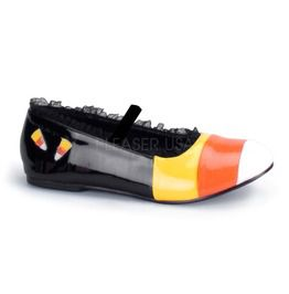 Candy Corn Ballet Flat, Blk Yl Orange Wht Pat Flat