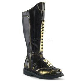 Stacked Heel Men's Knee High Boot, Side Zip