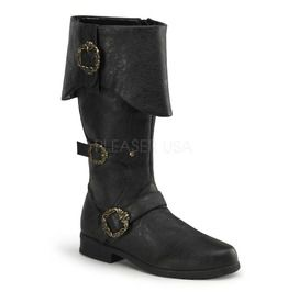 Cuffed Knee Boot W/ Octopus Buckles, Side Zip