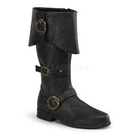 Cuffed Knee Boot W/ Octopus Buckles, Side Zip