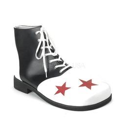 Adult Blk Wht Pu W/Red Stars Clown Shoe