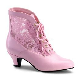 Pink Lace Victorian Ankle Boot, Pioneer
