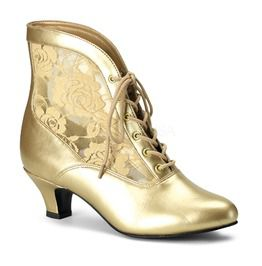 Gold Lace Victorian Ankle Boot, Pioneer