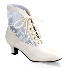 White Lace Victorian Ankle Boot, Pioneer