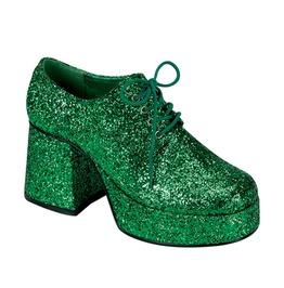 "3 1/2"" Heel Mens Green Glitter Platform Disco Shoes"