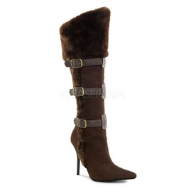 "4 1/4"" Heel,Viking Buckle Strap Embellished Knee High Boot"
