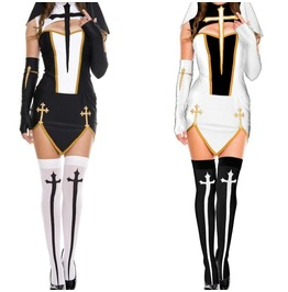 The Cross Cosplay Nun Uniform Halloween Costume Cut Out Hollow Womens Set