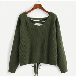 Army Military Green Cross Lace Up Drop Shoulder Womens Sweater