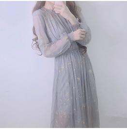 Dark Forest Harajuku Japanese Vintage Galaxy Embroidery Lolita Womens Dress