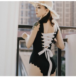 Rebelsmarket black swimwear backless lace up lolita swimsuit womens bodysuit  swimwear 6