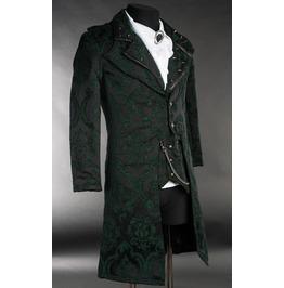 Men's Green Black Brocade Victorian Gothic Gentleman's Tailcoat