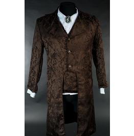 Men's Brown Brocade Victorian Gothic Jacket Gentleman's Tailcoat